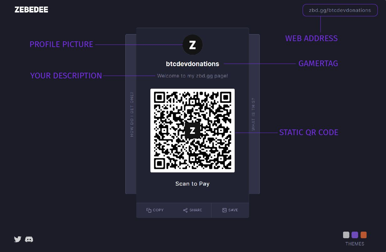 Here's what a zbd.gg profile page currently looks like