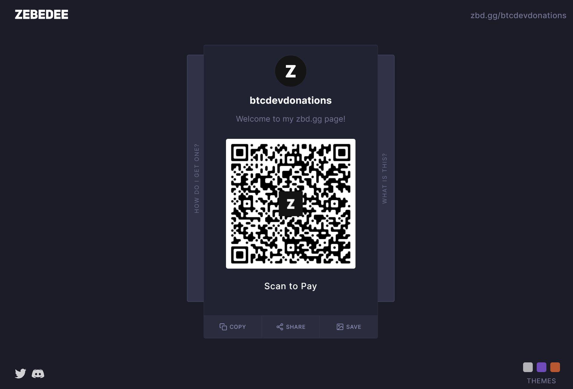 Bitcoin developer donations Gamertag profile page on zbd.gg